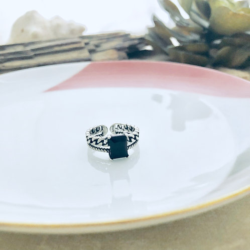 Twisted Black Sterling Silver Ring