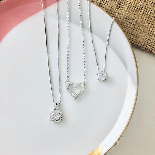 Cubic Zirconia Sterling Silver Necklaces