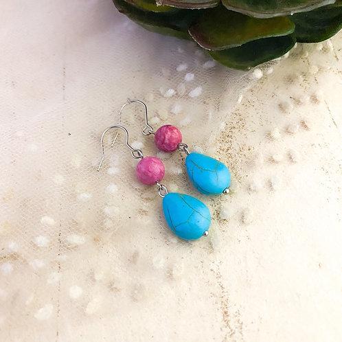 Teardrop Turquoise Stone Drop Earrings