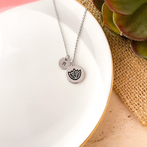 Lotus Initial Necklace