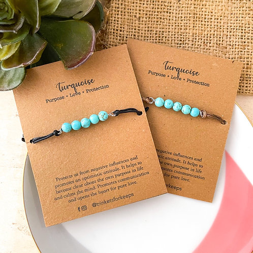 Turquoise Stone Cord Bracelet