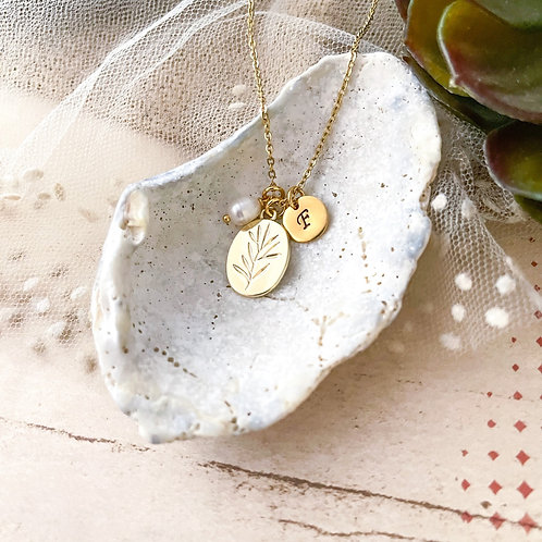 Leaves Initial Necklace