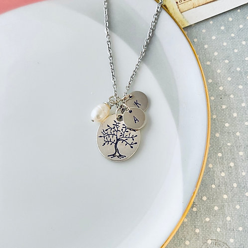 Family Tree Initial Necklace