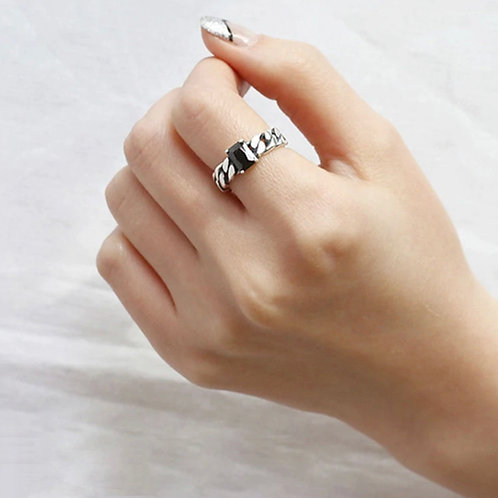 Black Twisted Sterling  Silver Ring