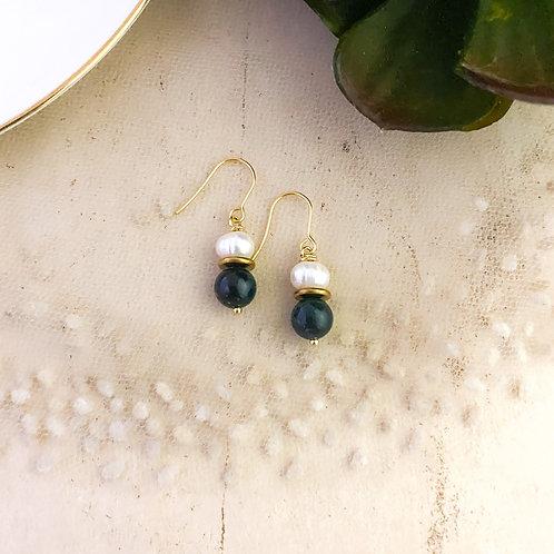 Jasper and Freshwater Pearl Drop Earrings
