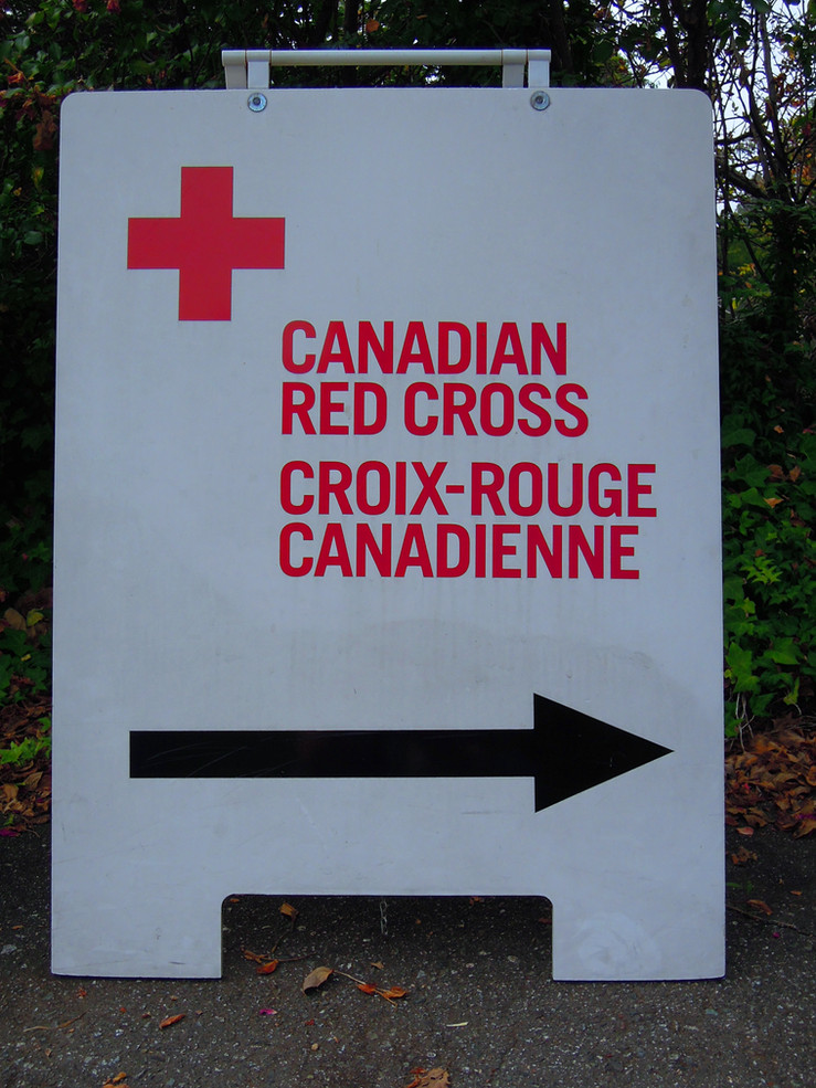 Our Red Cross sign outside  our building