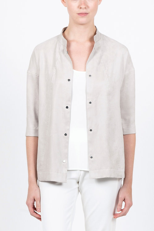 Luxe Faux Suede Shirt Jacket