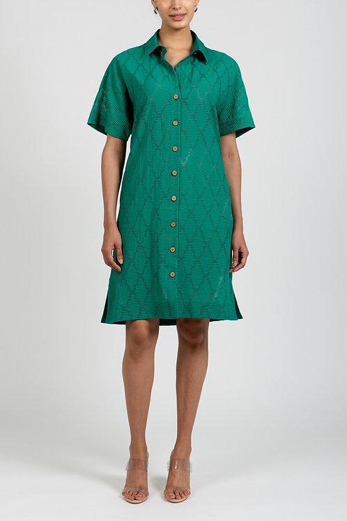 TRELLIS JACQUARD SHIFT DRESS