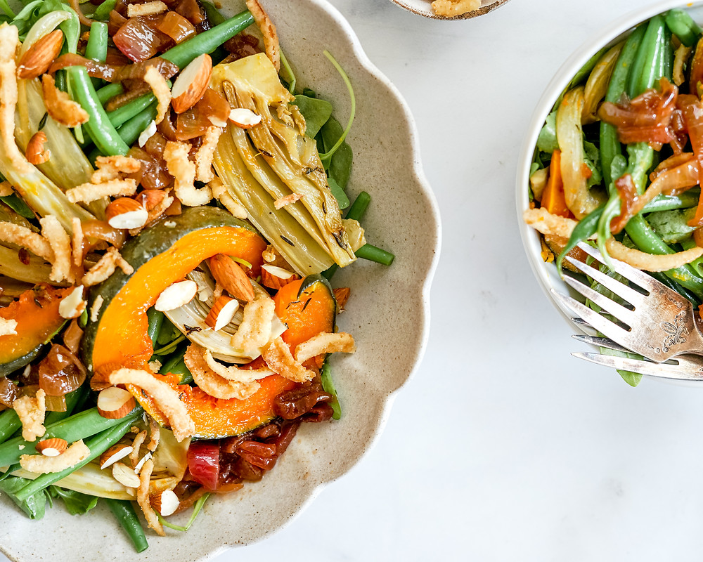 Green Bean Fennel Squash Salad
