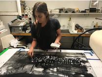 Monoprint demostrations on plexiglass