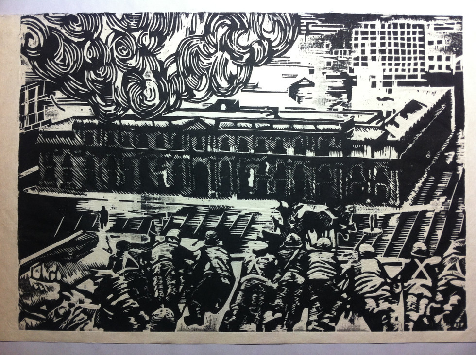 Memory and Landscape series, woodblock on japanese paper, 7 x 10 in, 2013.