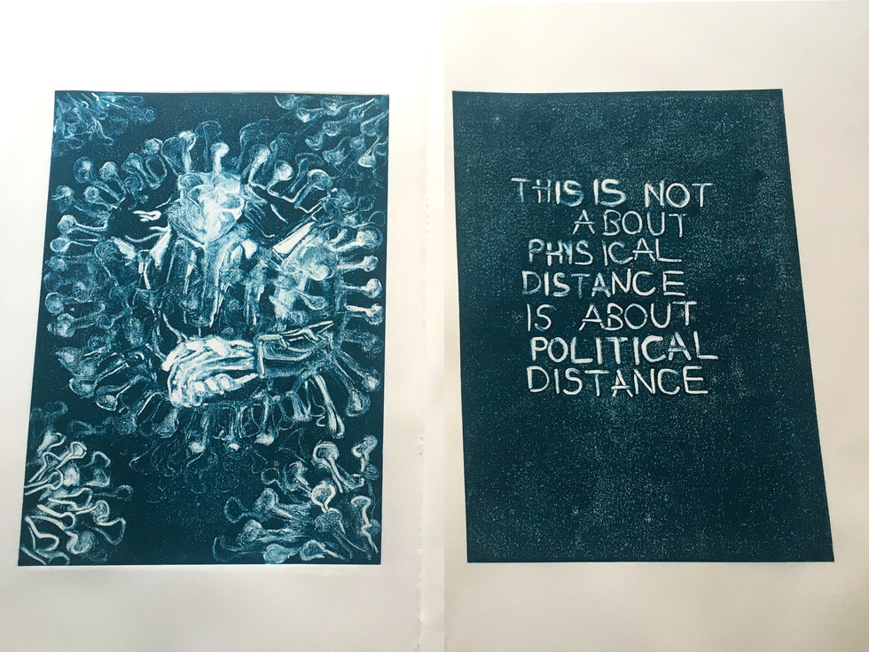 This is not about physical distance, ecthing, 23x32 in, 2020
