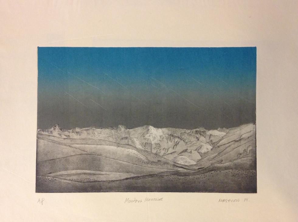 Mountains Memories, aquating ecthing, 12 x 18 in plate, 2015.jpg