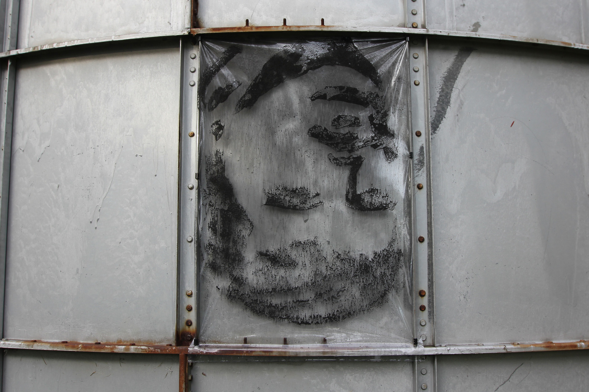 Silo installation of 35 portraits, Art OMI, Ghent, NY, 2016