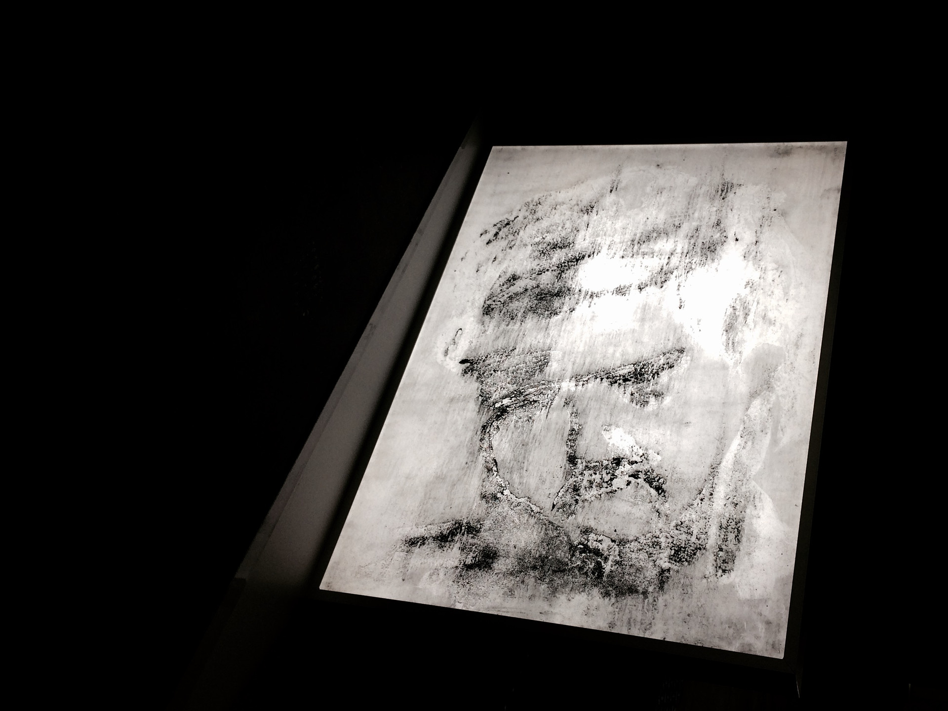 The right to know,charcoal painting on light box, 23X 32in, 2017.jpg