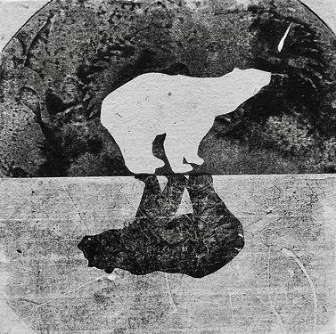 Yin e Yang- monotipo su carta estratta d