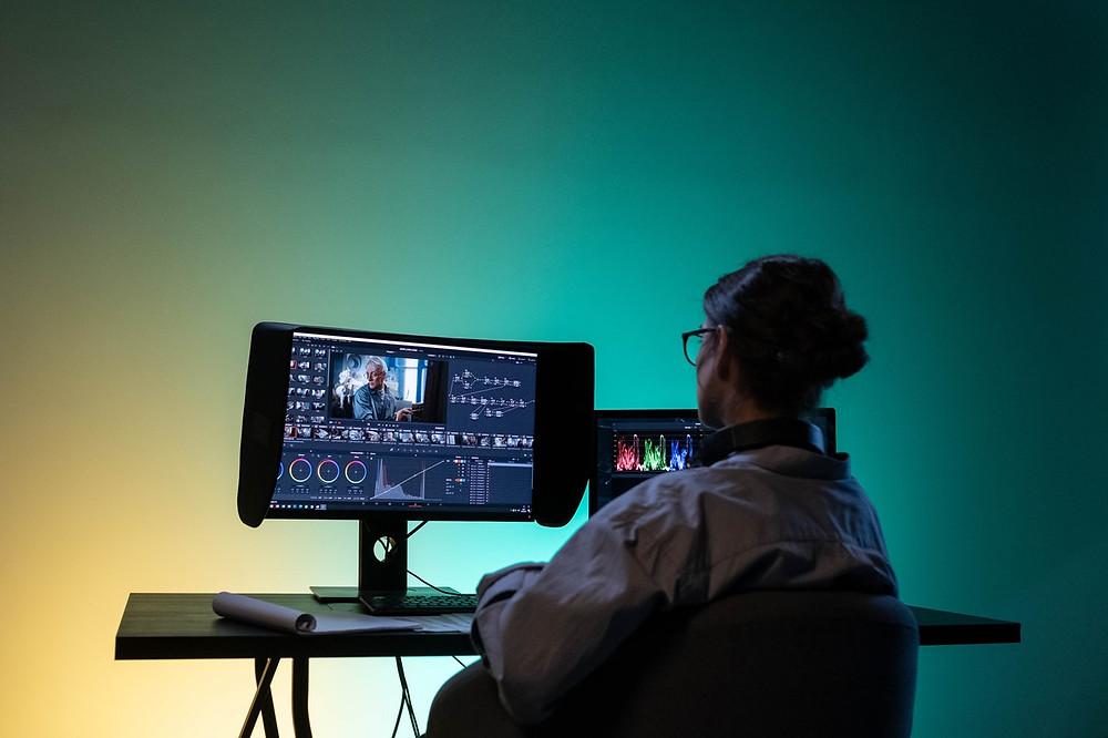 woman editing video