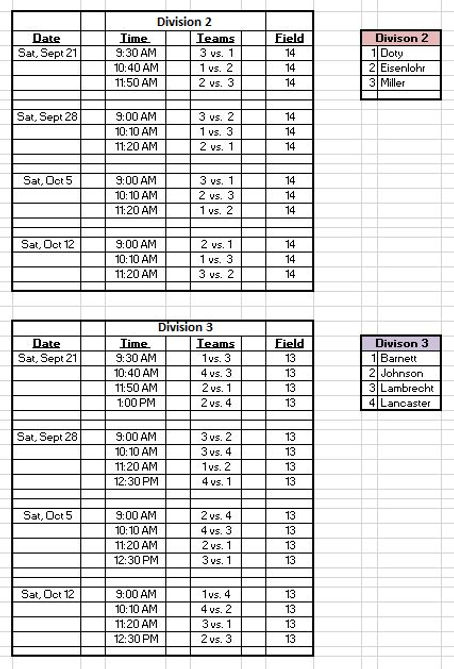 2019 Div 2 and Div 3 Schedule for Websit