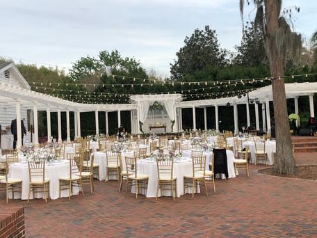 tables, chairs, linens, venue