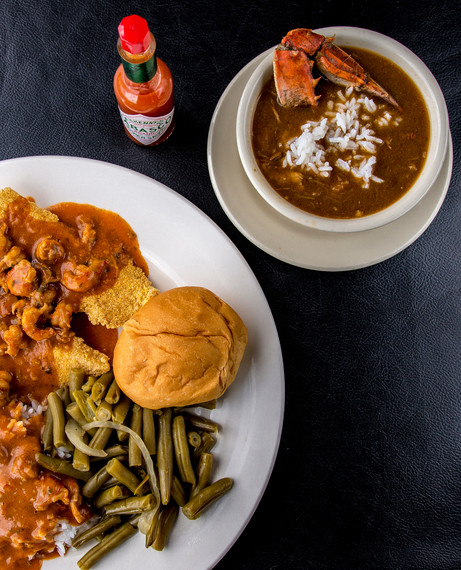 Crawfish etoufee over Fish with a cup of Gumbo
