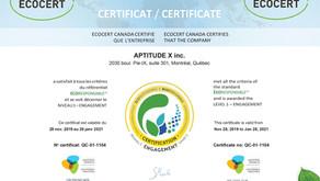 Aptitude X a été certifiée ÉCORESPONSABLE © Niveau 1 – ENGAGEMENT