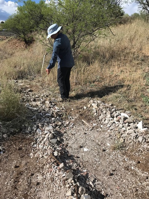 LO member, Julia, creates berms from urbanite fragments on a bare slope above the mosiac.