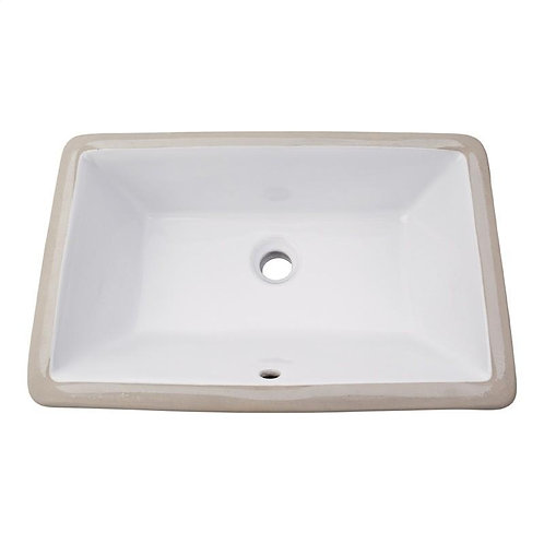 Rectangle Undermounted Bathroom Sink in White.