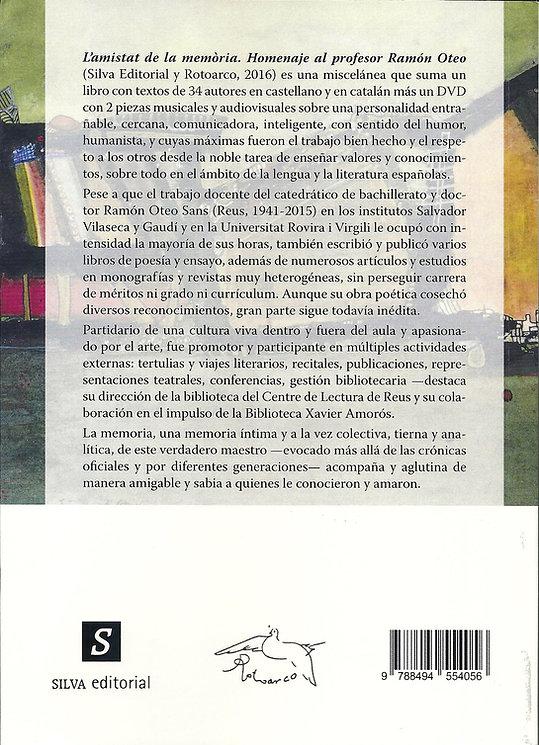 «L'Amistat de la memòria - Homenaje al profesor Ramón Oteo», libro colectivo donde participa el poeta Juan López-Carrillo