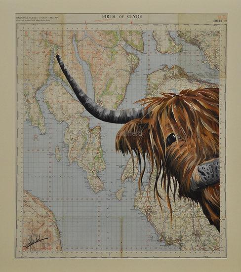 Highland Coo OS Map Original