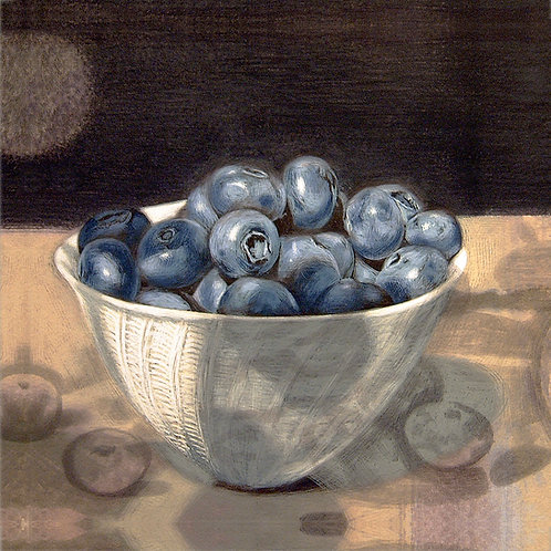 BLUEBERRIES IN A PORCELAIN BOWL
