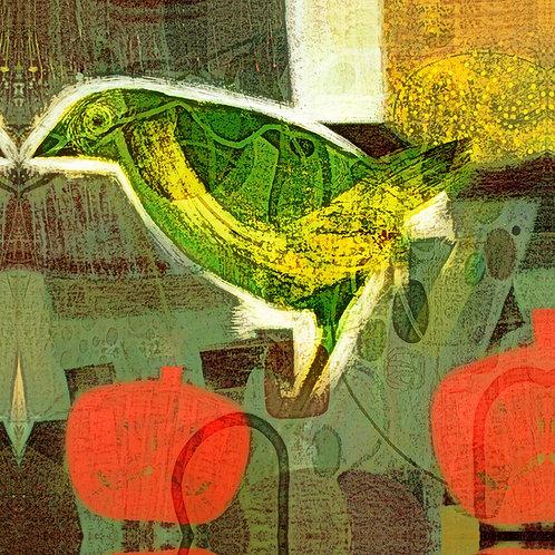 GREEN BIRD RED POMEGRANATE