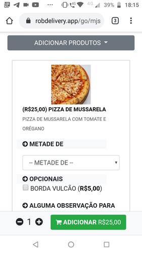 Efetuando pedido de pizza
