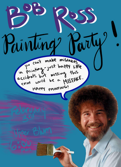 Bob Ross Painting Party Event Flyer (2020)