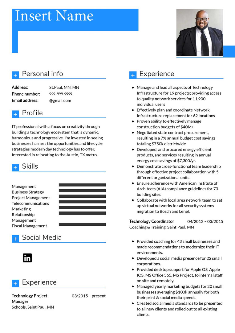 Resume Template 2 pg 1