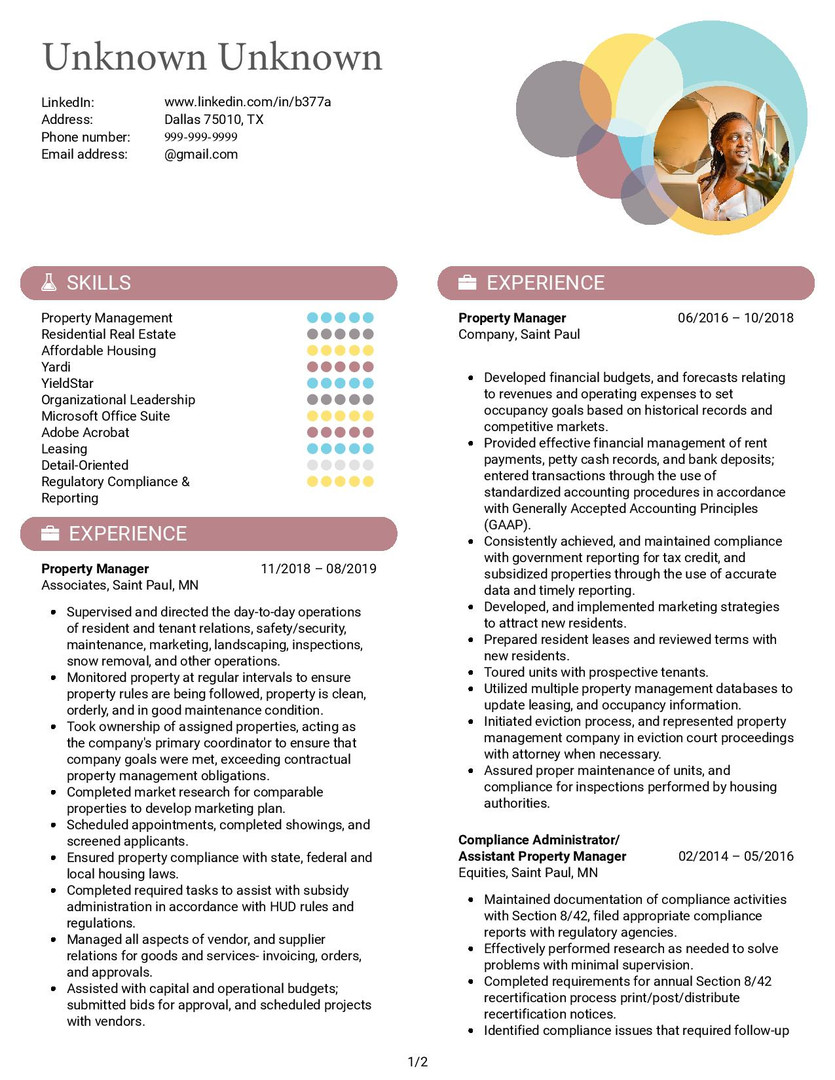 Resume Template 1 pg 1