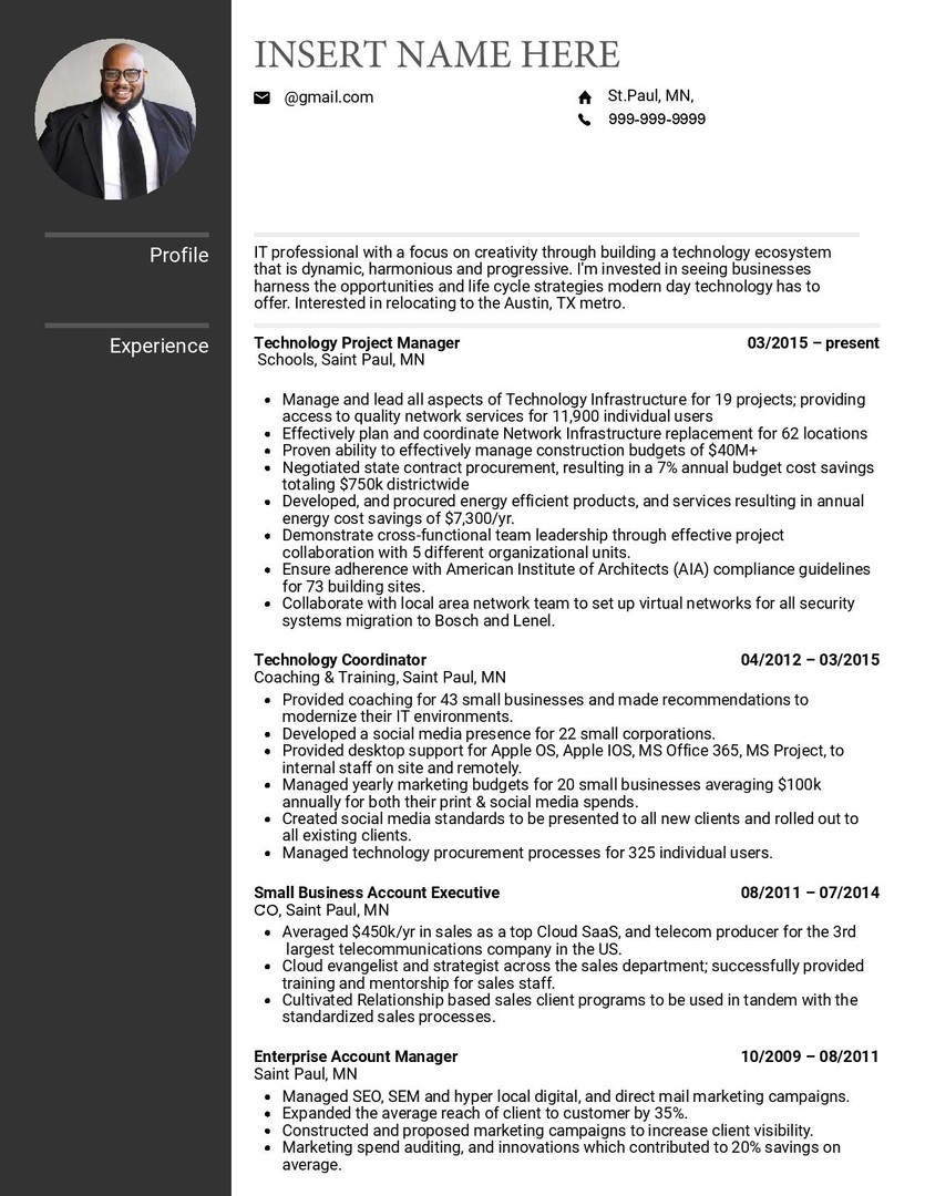 Resume Template 3 pg 1