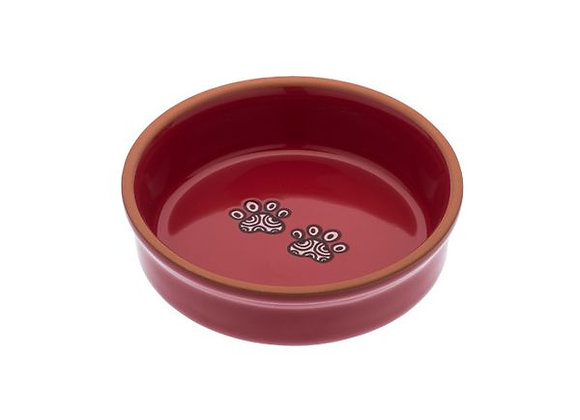 Red ceramic dog bowls with paw print Henna design