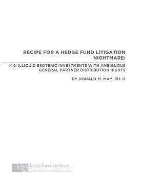 Recipe for a hedge fund litigation night
