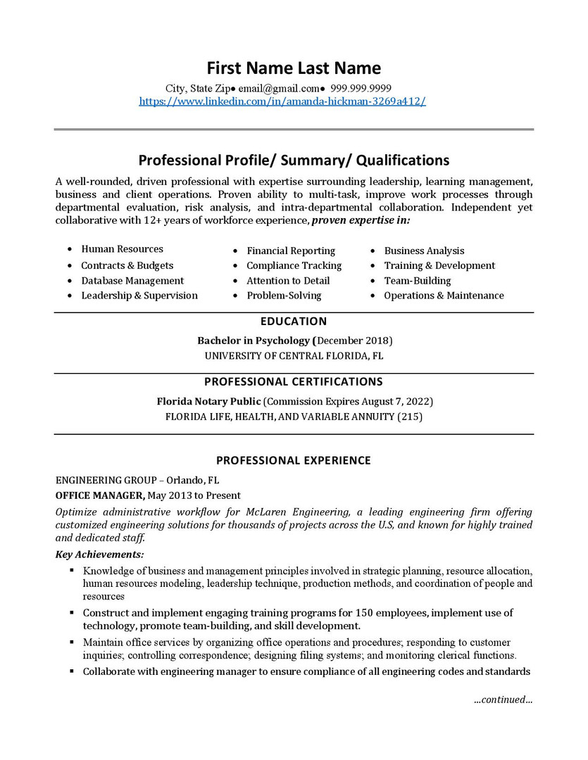 Resume Template 5 pg 1