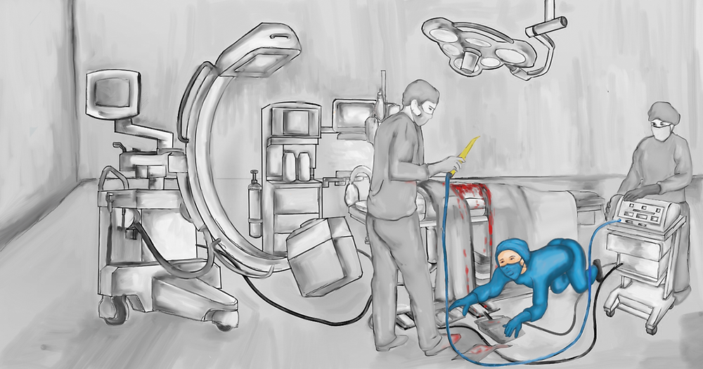Nurse crawls on pathogen-rich O.R. floor to reposition the right pedal.