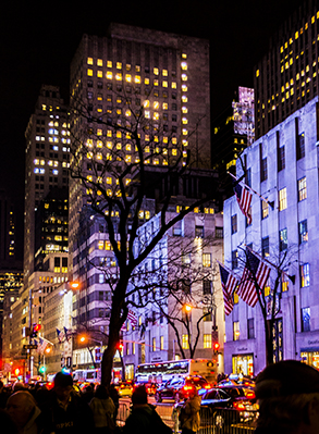 NYC 5th Ave At Night