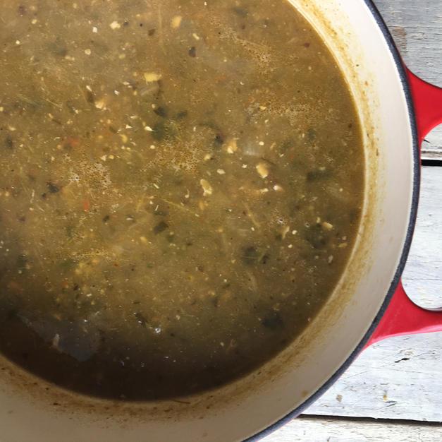 Roasted Chicken Tomatillo Poblano Soup