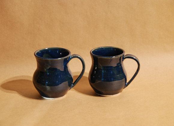 pair of small curvy mugs - ocean glaze