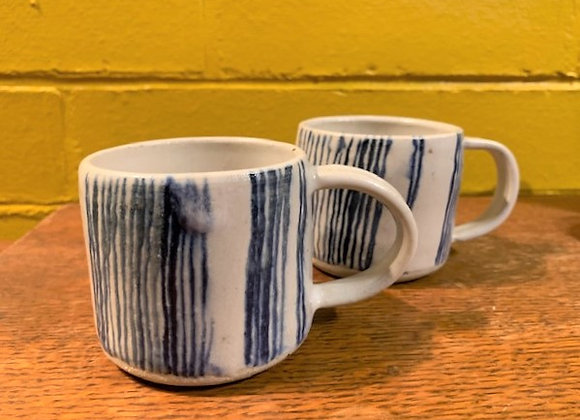 striped mugs pair