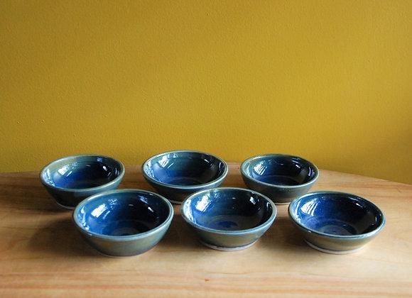 6 dipping bowls - ocean glaze