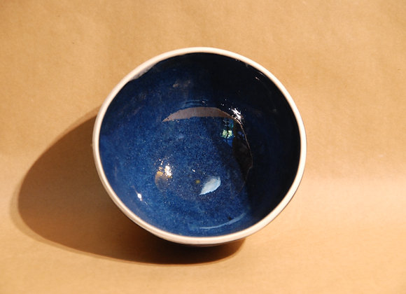 bowl with glazed base - ocean glaze