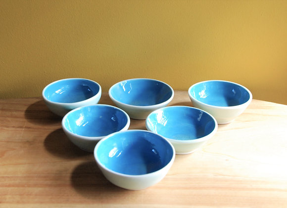 6 dipping bowls - turquoise