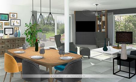 Projet Salon Camaieu Vert Bleu et Gris