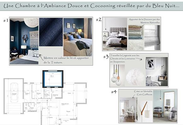 Planche Tendance Chambre Cocooning Bleu Nuit
