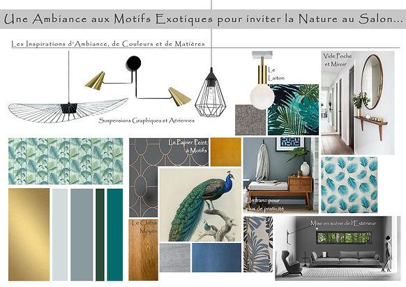 Planche Tendanc Salon Camaieu Vert Bleu et Gris